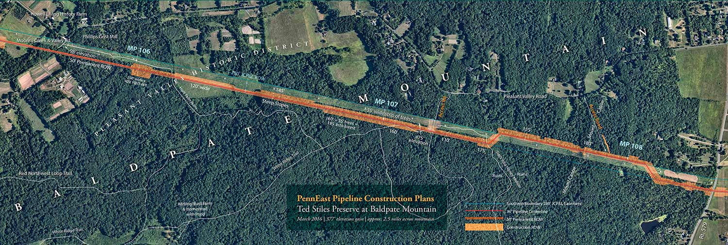 PennEast's proposed over 2.5 mile crossing of Baldpate Mountain sometimes est. 160' construction ROW est. 195' deep into forest