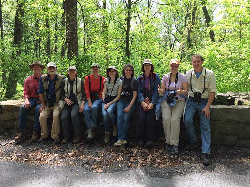 Team Baldpate's happy birders with Birdathon leader Tyler Christensen at Baldpate, May 2016