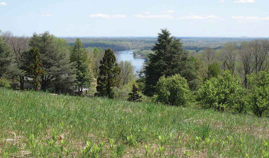 View of Delaware River from summit of Baldpate Mountain, Hopewell Township. Baldpate is home to uncommon and rare wildlife. Photo © Fairfax Hutter.