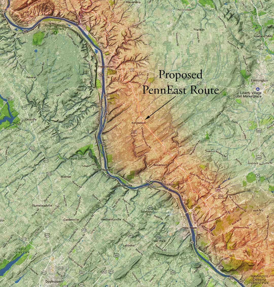 Rugged Bobcat habitat along the Delaware River and proposed PennEast route in NJ